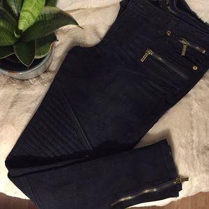 Michael Kors dark blue biker jeans size 8